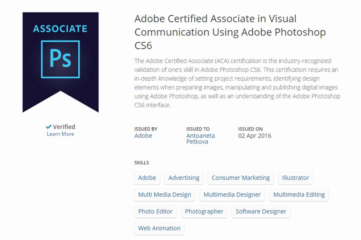 Certificate from Adobe Certified Associate