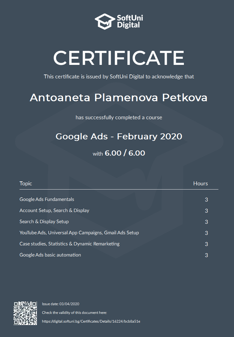 SoftUni Certificate for Google Ads