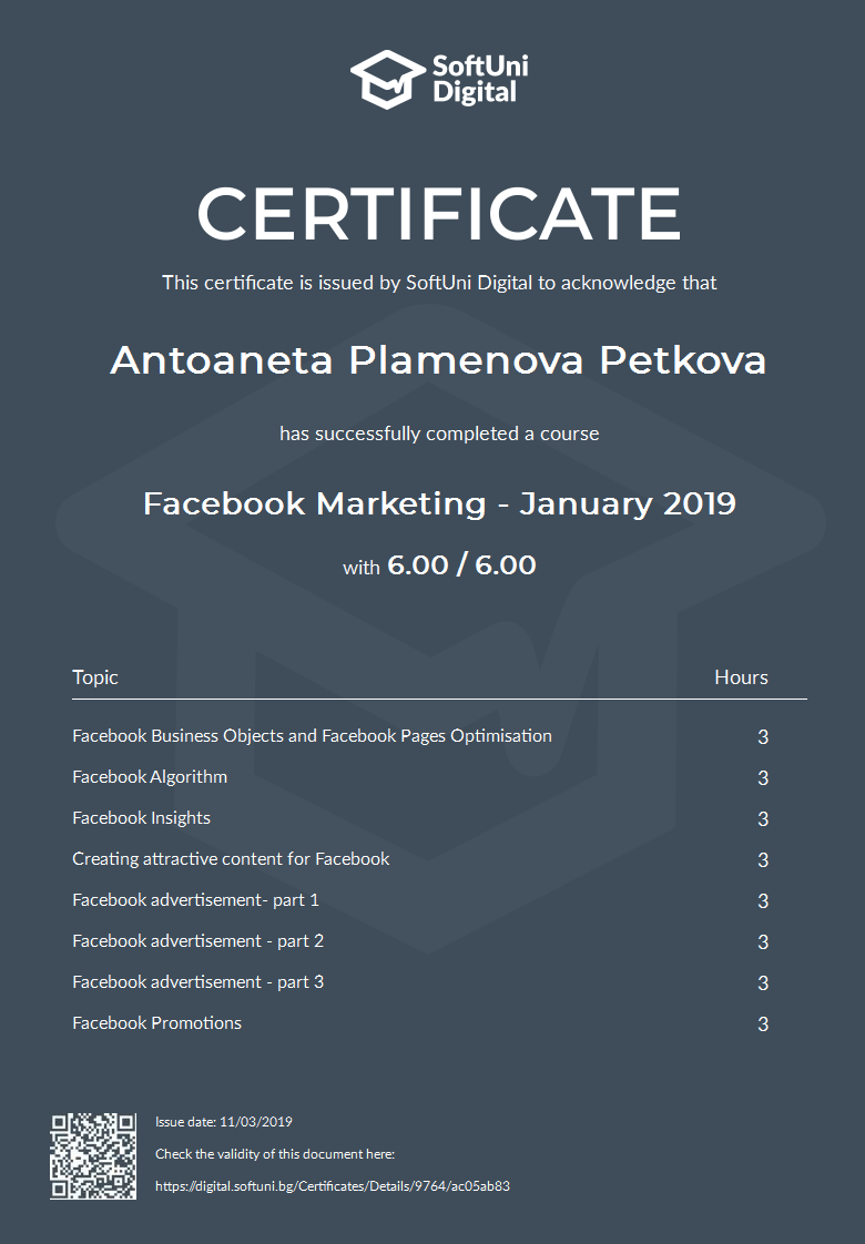 SoftUni Certificate for Facebook Markeing